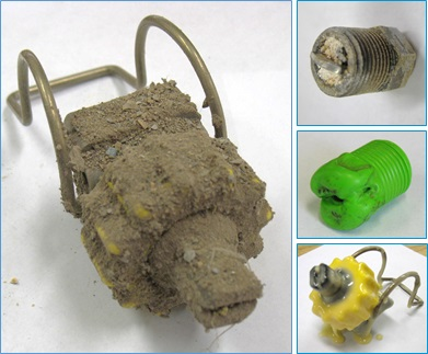 montage of spray nozzles damaged by caking, corrosion and melting